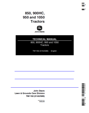 John Deere 850 900HC 950 1050 Tractors PDF Technical Manual
