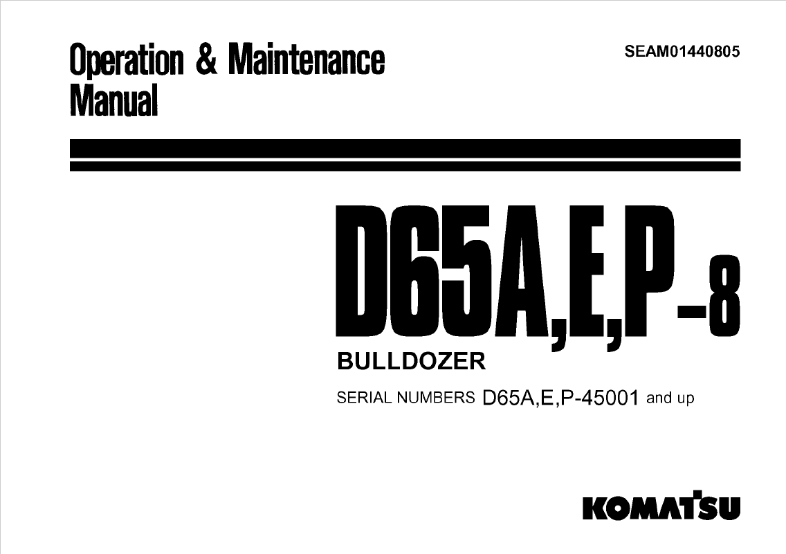 Komatsu Bulldozer D65a E P 8 Manual Download