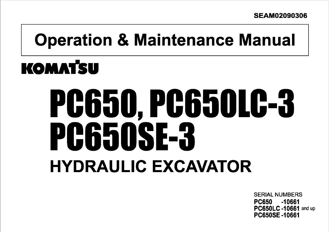Komatsu Excavator Pc650 Lc 3 Pc650se 3 Set Of Manuals