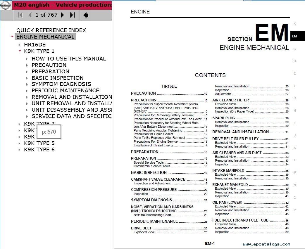 Download Nissan Nv200 M20 Model Service Manual