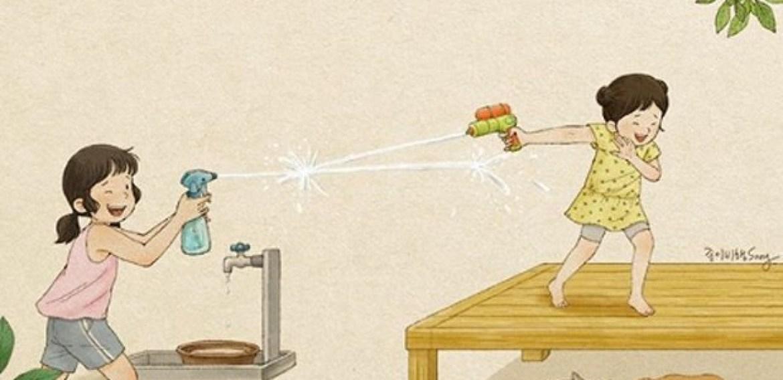 Ilustradora sul-coreana desenha suas memórias sobre como é crescer com uma irmã