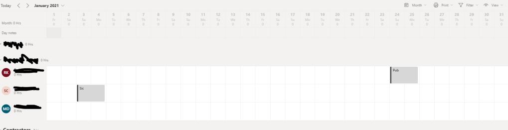 Working calendar of team members in  Microsoft Teams