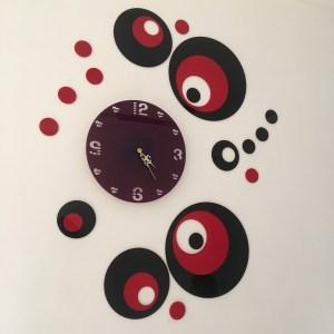 Wall clock multicolour round theme