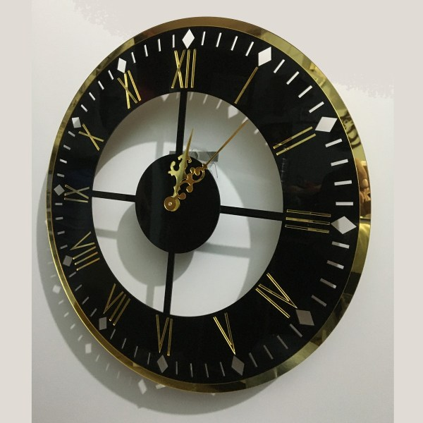 wall clock fancy in black and golden