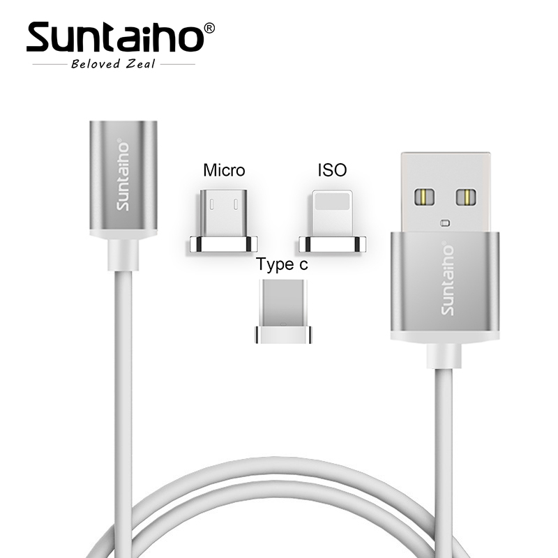 on sale 01375 02f61 Suntaiho 2 in1 Magnetic cable Fast Charger For iPhone 8 7 Plus Type C/Micro  USB/ISO Magnetic adapter S8 p for redmi 4X 4A Note4