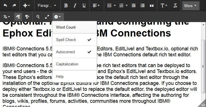 TBIO IBM spell check as you type screenshot