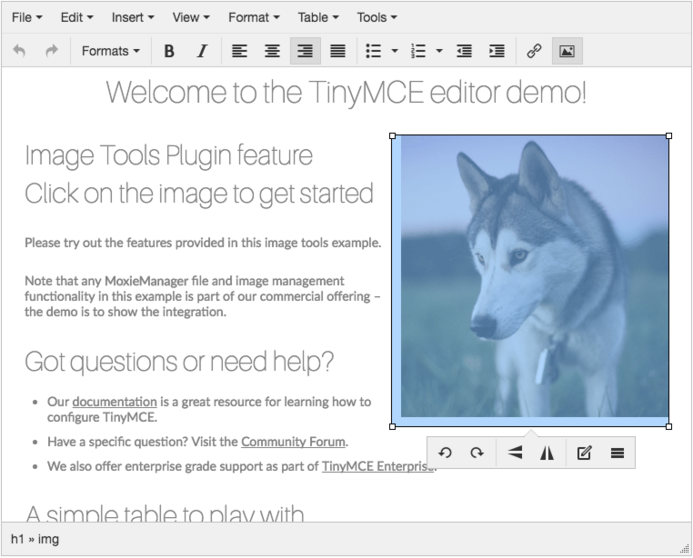 Image Tools inline dialog