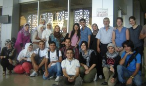 Mary (second from right, back) gathers with ISP families to say goodbye as eight students depart Syria for their freshman years at U.S. colleges. Damascus International Airport, August 2011.