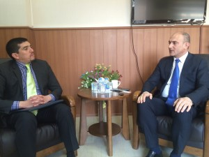 Ahmed Ali (left) with Minister of Planning, Ali Sindi (right) in Kurdistan, Iraq.