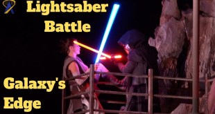 Star Wars Lightsaber Battle and Stunt Show in Galaxy's Edge during media event