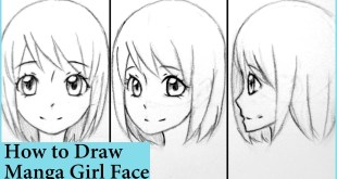 How to Draw Manga Girl Face in Front, 3/4, and Side View