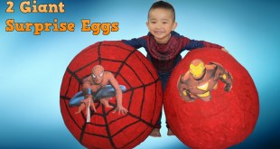 2 Super Giant Surprise Eggs Spiderman Ironman Toys opening Disney Marvel Avengers  CKN Toys