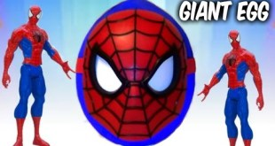 SpiderMan Marvel Comics SuperHero Venom Battle Toy in Giant Surprise Egg Unboxing Videos for Kids