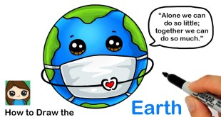 How to Draw the Earth wearing a Mask | Coronavirus Awareness Art
