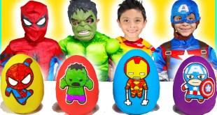 Marvel Avengers Play Doh Surprise Eggs kids video toys superheroes dress up costume runway show
