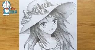 How to draw Anime girl with hat - step by step  || Manga Girl Pencil Sketch