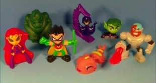 2014 DC COMICS TEEN TITANS GO! SET OF 6 SONIC DRIVE-IN KID'S MEAL TOY'S VIDEO REVIEW