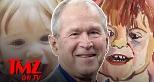 George Bush Tries Painting 1 Year Old Grandson | TMZ TV