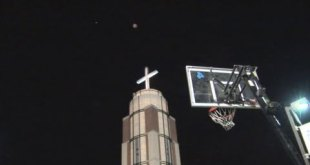 Cross Tower Shot w/ Night Vision | Bottom View | Dude Perfect