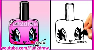 How to Draw Easy Cartoons - Nail Polish Tutorial Cute + Stylish Fun2draw Kawaii