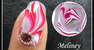 WATER MARBLE NAIL ART TUTORIAL | ENCHANTED FOREST RED FLOWER FEATHER NAIL DESIGN MANICURE EASY DIY