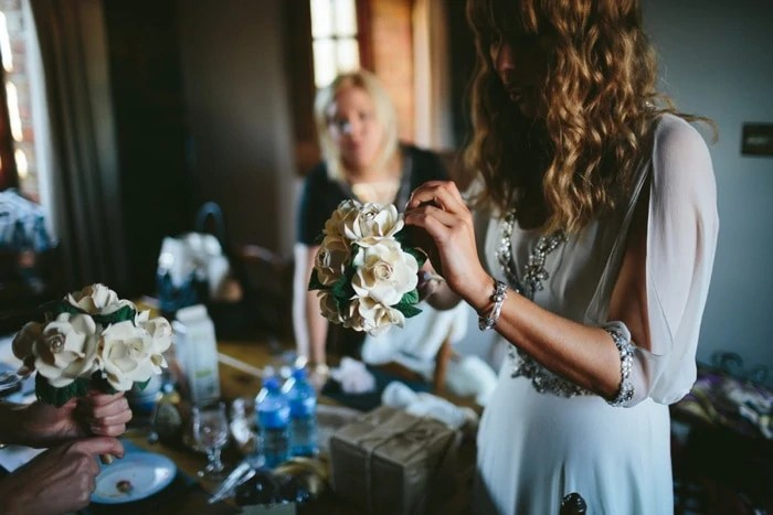 Handmade paper wedding flowers DIY wedding bouquet