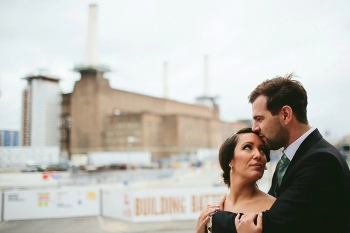 London wedding portraits at Battersea Power station
