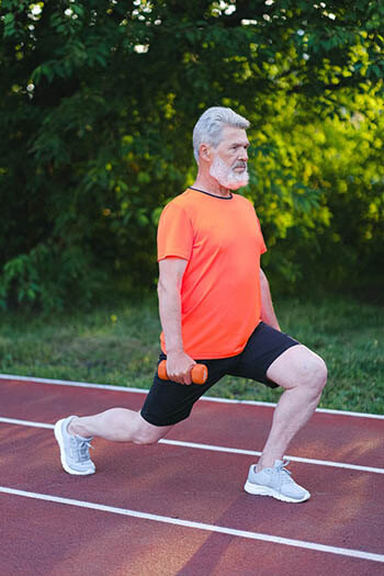 an old person exercising