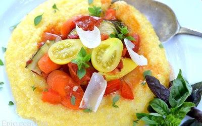 Creamy Polenta with Spicy Summer Vegetable Ragu