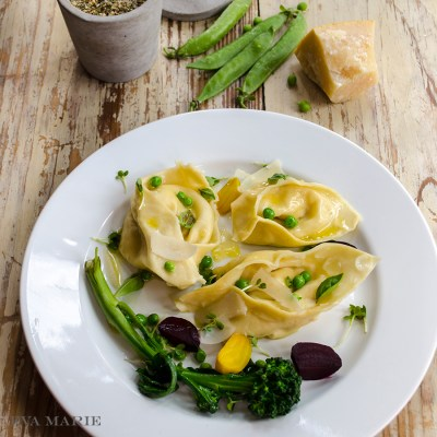 Four Cheese Tortelloni with English Peas, Roasted Beets & Baby Broccoli