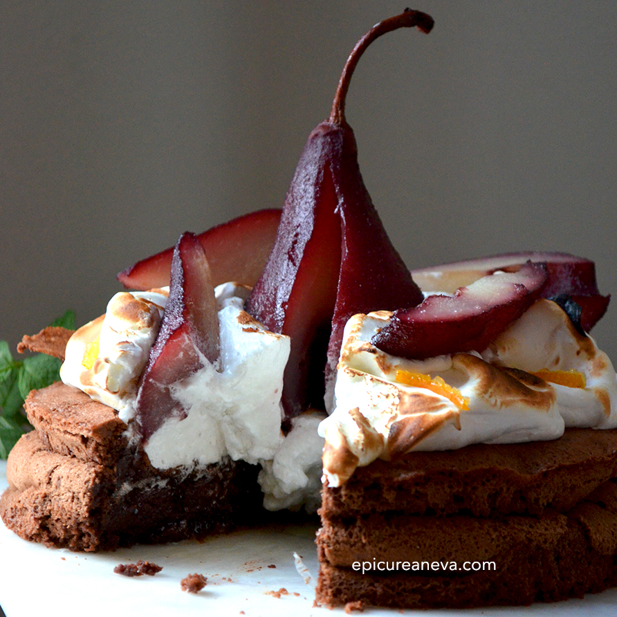 Poached pears chocolate cake