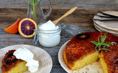 Caramelized Blood Orange and Polenta Cake