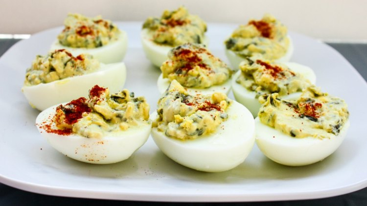 La Terra Fina Spinach & Parmesan Deviled Eggs recipe via EpicureanTravelerBlog.com