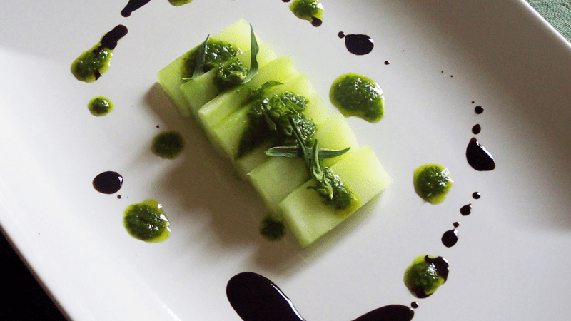Blanched Broccoli Stalks With Basil Tarragon Pesto and Balsamic Reduction