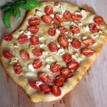 Cherry Tomato Garlic Goat Cheese and Parmesan Pizza