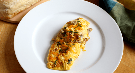Mushroom Onion Garlic and Basil Omelette