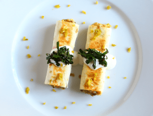 Potato and Egg Taquitos with a Jalapeño and Lime Suiza Sauce
