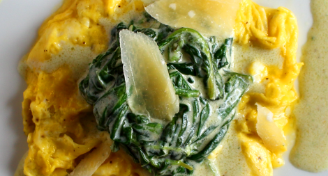 Scrambled Eggs with Creamed Spinach
