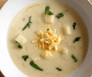Potato and Onion Soup with Smoked Gouda