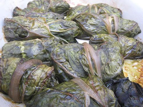Rouleaux de feuilles de blettes végétariens