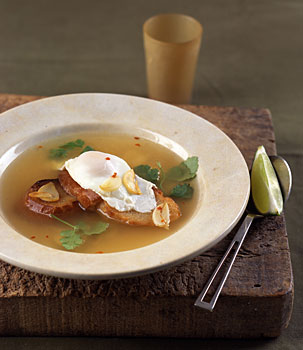 Garlic Soup with Poached Eggs recipe