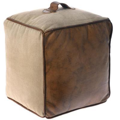 Τετράγωνο πουφ από Γνήσιο Δέρμα και Καμβά Η-315124