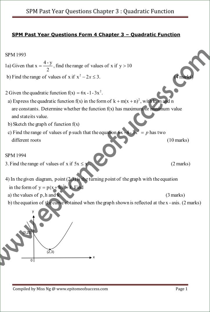 SPM Add Math Past Year Question 1993-2007 Quadratic Functions   SPM