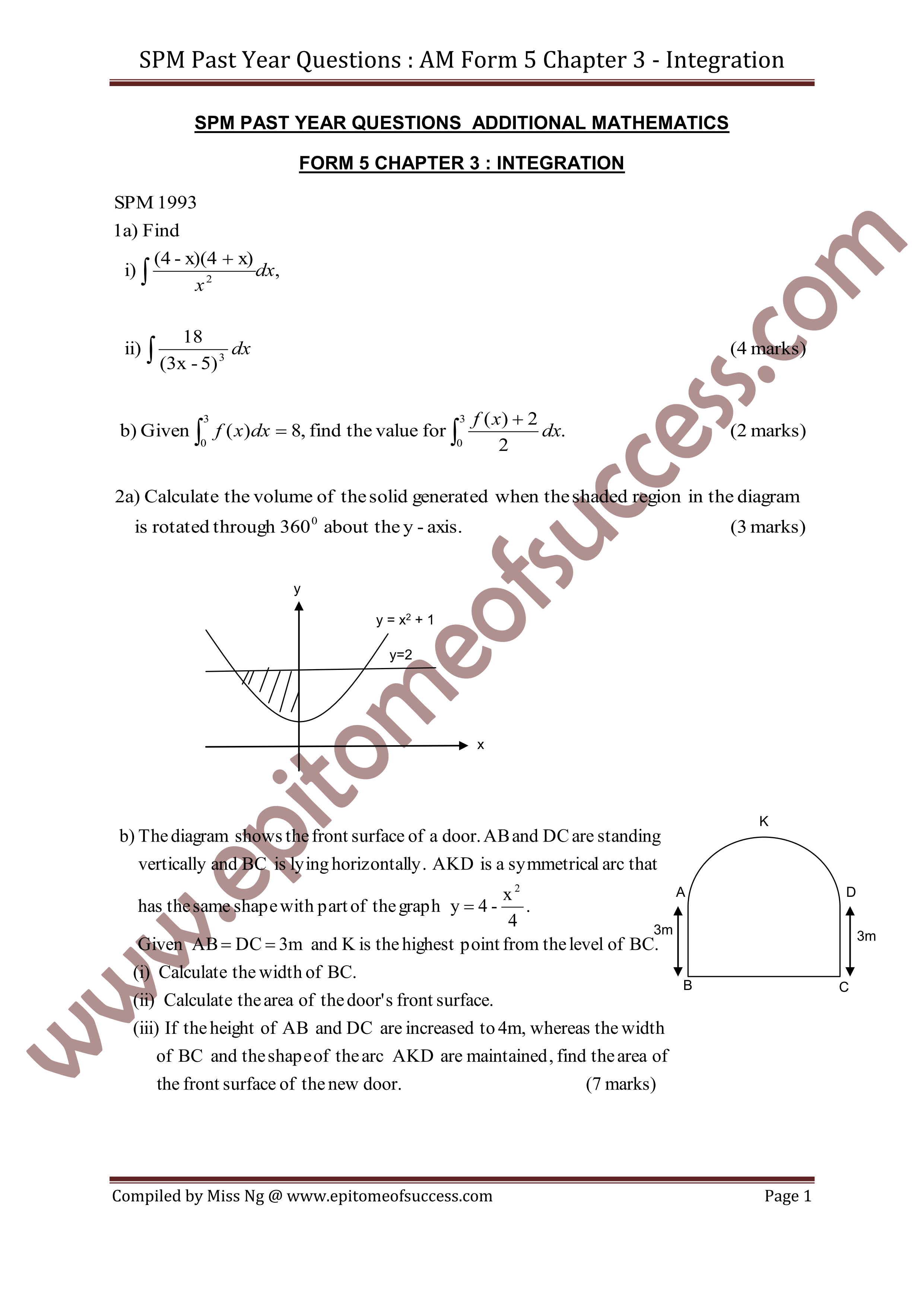 Spm Add Math Past Year Question Integration