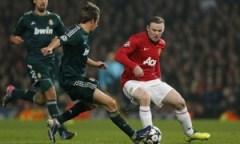 Wayne Rooney in action, Manchester United v Real Madrid