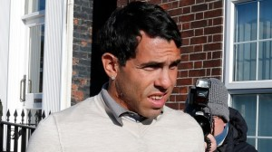 Carlos Tevez pictured outside Macclesfield magistrates this morning