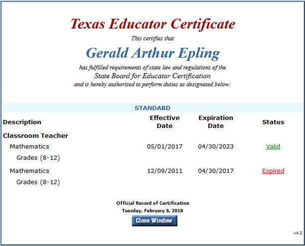 Texas Educator Certificate