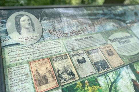 A closer look of Elizabeth Fries Ellet, as seen on one of the interpretive signs.