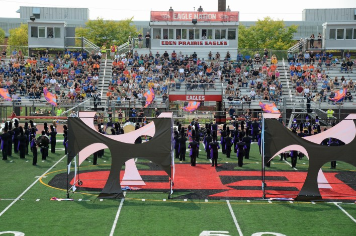 The Grand Rapids marching band performed in front of a large crowd at the Prairie Colors Marching Band Festival Sept. 11