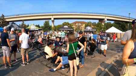 tables, people and LRT bridge at Purgatory Creek Park.